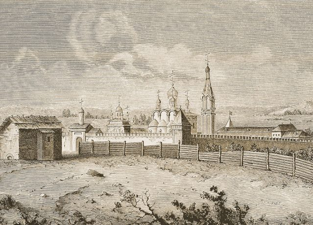 Intercession (Pokrovsky) Monastery. 1707s - 1708s. The engraving V. Picart