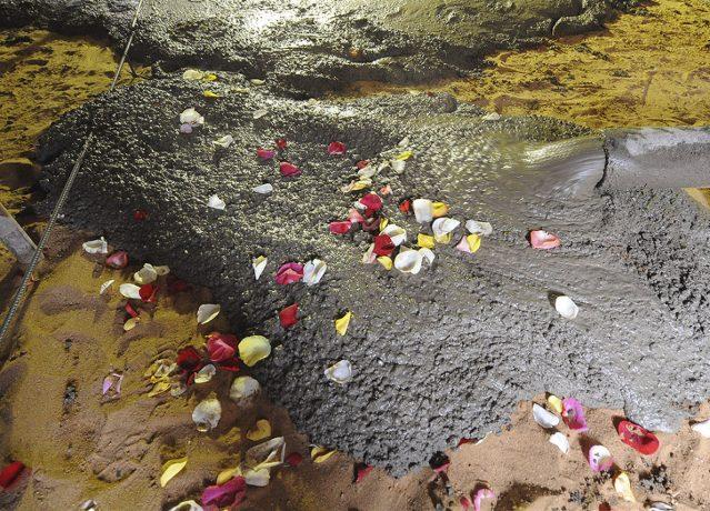 Весь фундамент здания был посыпан лепесточками освященными на мощах святой блаженной Матроны Московской